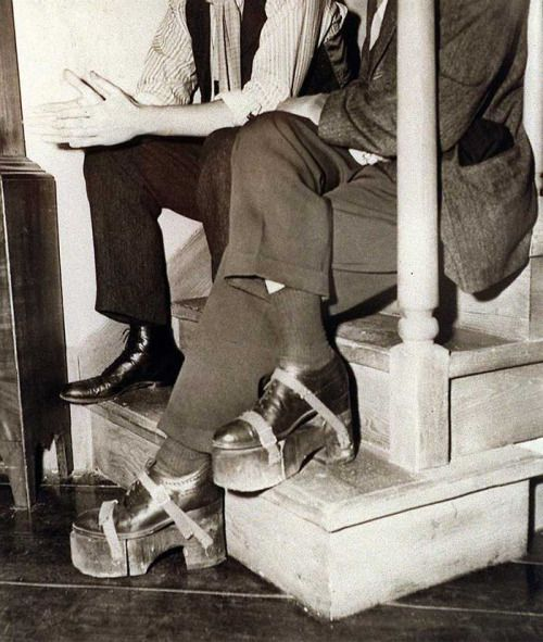 Since Humphrey Bogart was shorter than Ingrid Bergman, he wore these shoes during the making of Casablanca.