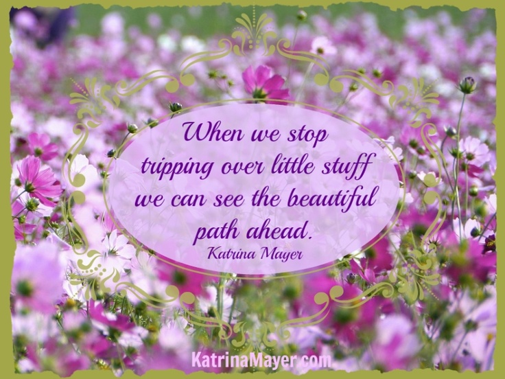 When We Stop Tripping Over The Little Stuff We Can See The Beautiful Path  Ahead. Find This Pin And More On Katrina Mayer Quotes ...