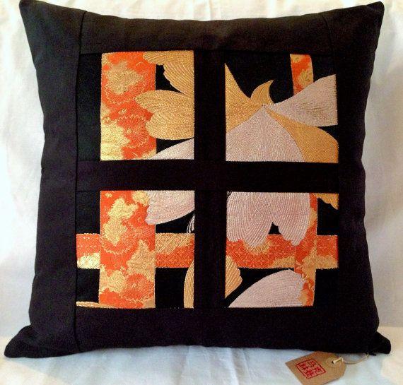 Vintage Japanese Silk Obi Cushion Covers  Black / by Setsuri