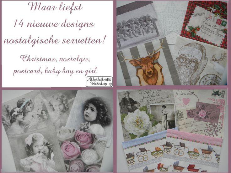 Wij hebben uitgebreid assortiment met prachtige vintage design servetten. Super leuk om mee te knutselen. Geschikt voor decoupage / servetten techniek.
