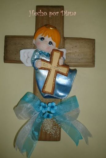 Manualidades Diana: Cruces rústicas con angeles