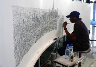 Stephen Wiltshire, diagnosticado com autismo, desenha toda  metrópole apenas de sua memória.