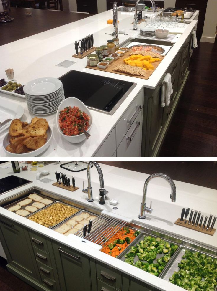 """A question we often hear is, """"will I lose counter space?""""…well, do these photos answer that question? The Galley is not just a sink, it is a workstation. Add counter space with cutting boards, drain rack(s), or even with standard half-sheet trays (13 x 18) that fit on the lower-tier (7' Galley shown here holds 6 trays). It is the perfect station to prep, cook, clean, and serve. Also, if you have an induction cooktop next to the Galley, that too is additional countertop!"""