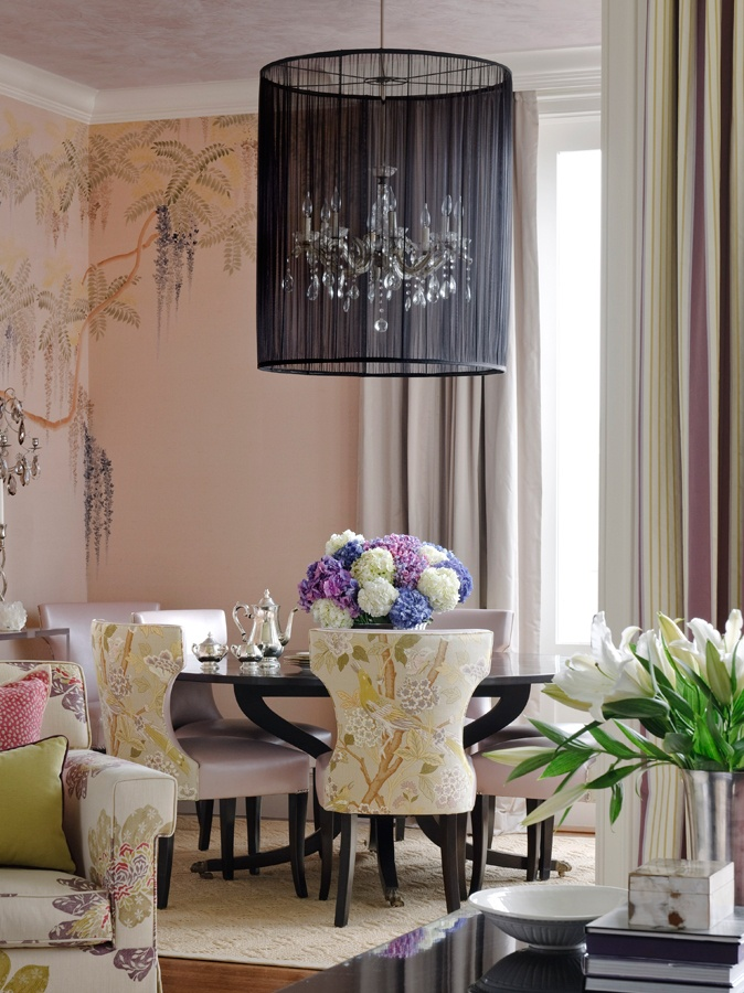Chandelier Shade Pink Dining RoomsEclectic