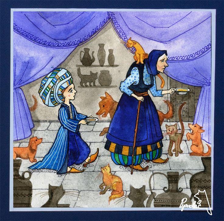 Вильгельм Гауф. Маленький Мук просит старуху нанять его.  #сказка#вильгельмгауф#маленькиймук#иллюстрация#акварель#собаки#кошки#коты#драпировки#потайнаядверь#мискаседой#еда#обед#орнамент#тюрбан#туфли#шаровары и многое другое)