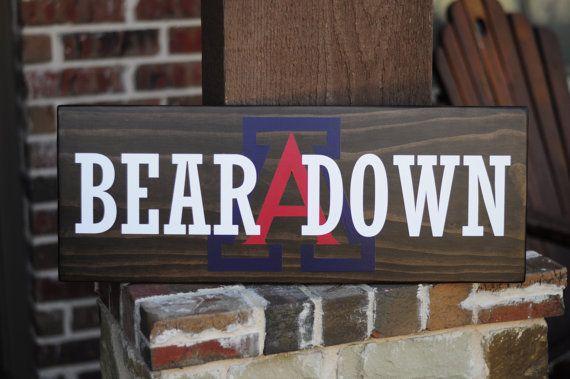 9in. by 24in. University of Arizona wood sign by SadieJayDesigns, www.SadieJay.com, Wildcats, Bear Down