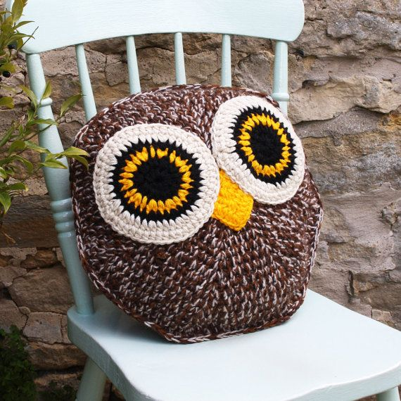 HOOTY owl pillow cushion cover PDF email crochet pattern