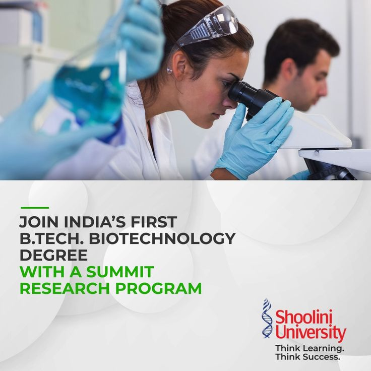 B.Tech. in Biotechnology Shoolini University in 2020