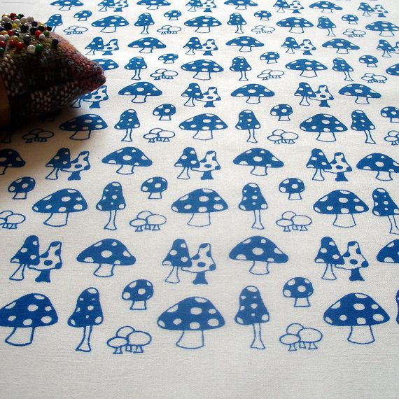 Toadstools v.2 - hand screen printed fabric skinny quarter - Ocean Blue on White Cotton on Etsy, £5.09