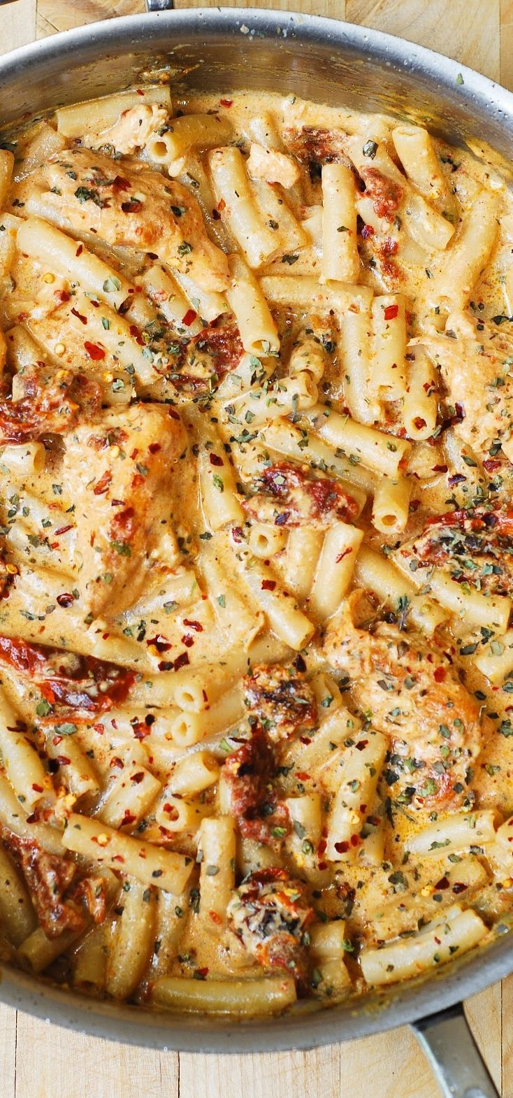 Chicken Mozzarella Pasta with Sun-Dried Tomatoes.Chicken breast tenderloins sautéed with sun-dried tomatoes and penne pasta in a creamy mozzarella cheese sauce seasoned with basil, crushed red pepper flakes. If you love pasta, if you love Italian food – you'll LOVE this recipe!