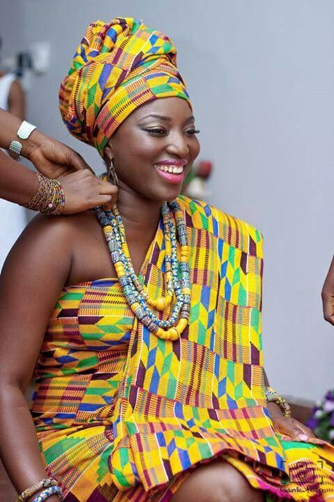 Ghanaian Bride In Kente Attire Love My Culture Traditional Engagement Wedding Pinterest
