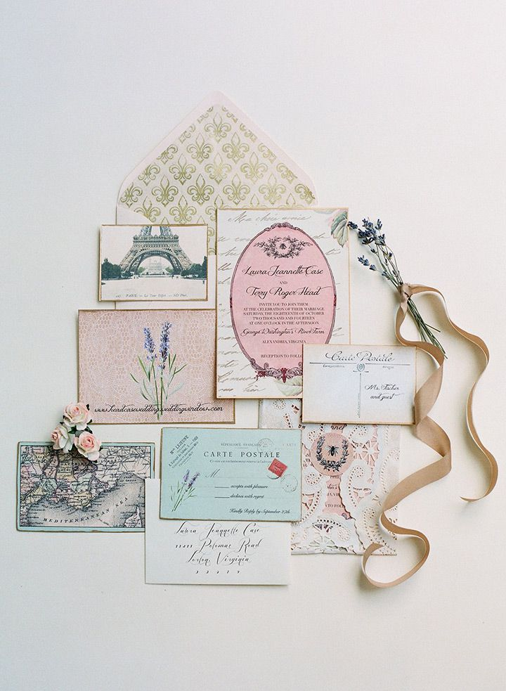 stunning wedding invitation suite for a Vintage French themed wedding!  ~ we ❤ this! moncheribridals.com