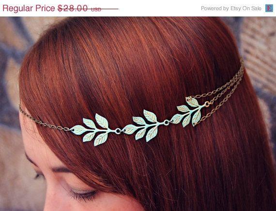 ON SALE Patina leaves head chain chain headband by alapopjewelry
