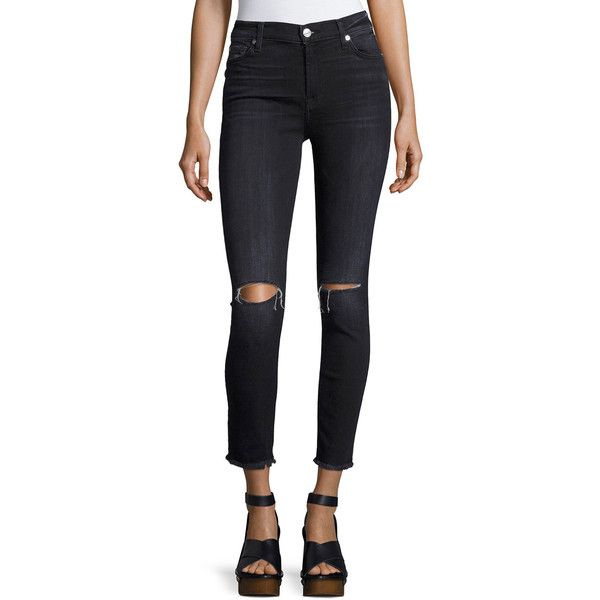 7 For All Mankind High-Waist Ankle Skinny Jeans ($129) ❤ liked on Polyvore featuring jeans, dark gray, high-waisted jeans, high-waisted skinny jeans, destructed skinny jeans, high waisted ripped skinny jeans and super high-waisted skinny jeans