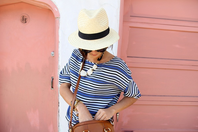 //: Summer Hats, Summer Attire, Panama Hats, Fashion Clothing, Outfit, Cute Hats, Beaches Scene, Summer Stripes, Blue Stripes