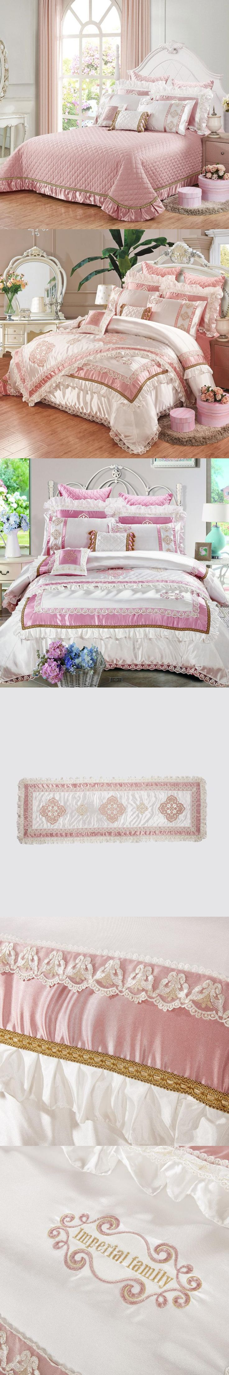 2017 luxury embroidered silk cotton linens 11pcs bedding set slippery King size bed flag bedspread wedding duvet cover set