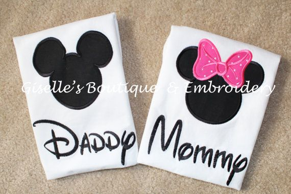 Mommy and Daddy Mickey and Minnie Mouse by GisellesEmbroidery