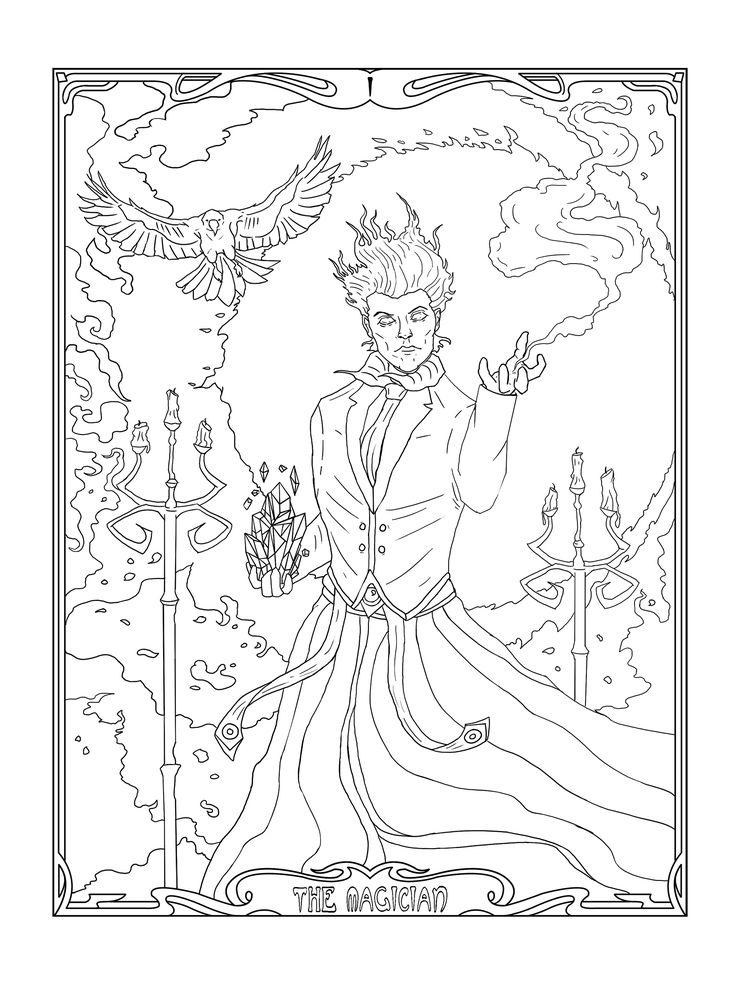 the magician  mage  magic  art nouveau  coloring pages