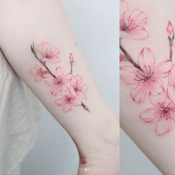 Cherry blossom tattoo by Anzo