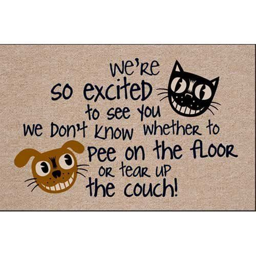 """We'Re Excited To See You Doormat by High Cotton Inc. $24.98. Doormat is 18"""""""""""""""" x 27"""""""""""""""". Easy care; Wash with hose and a brush. Dry Flat; Do not machine wash. Perfect bound stitched edges. 100% Olefin indoor / outdoor carpet. Your guests will laugh out loud when they arrive at your door. This hysterical doormat is funny yet functional"""