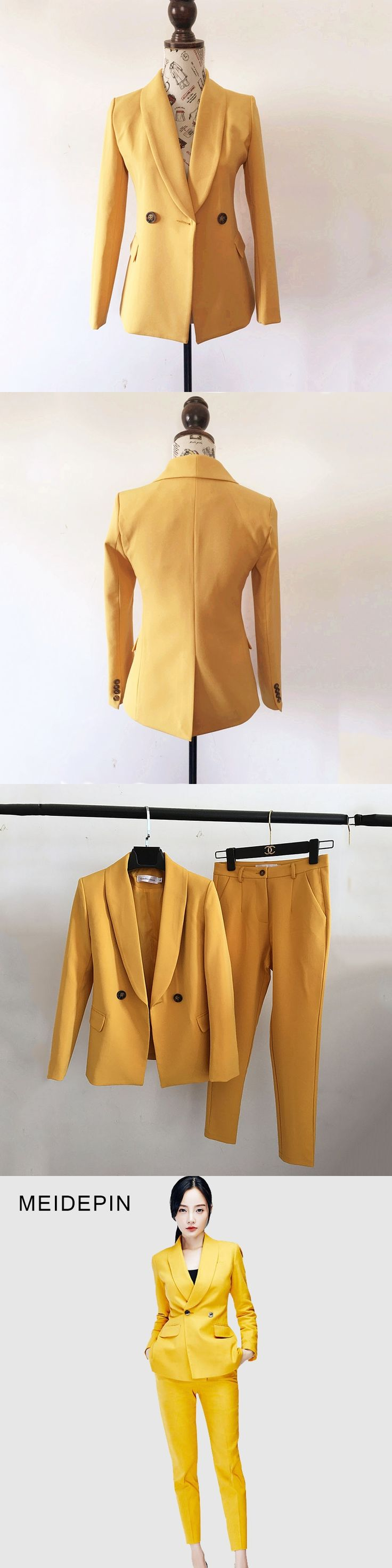 Unique Style Women High Street Solid Color Yellow Pant Suits Single Button Blazer Slim Trousers Bodycon Brief Twin Set Outfits
