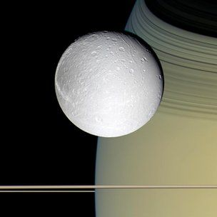 Nasa's Cassini spacecraft has spied possible signs of geological activity on Saturn's icy moon Dione.    It sees features that resemble hot fissures and indications of a possible ice volcano on the satellite.