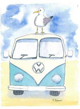 watercolor vw bus