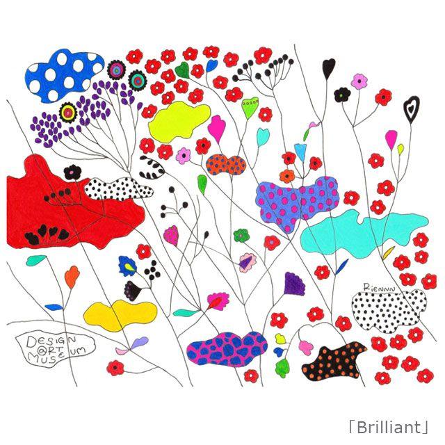『Brilliant/RIENNN』 「花鳥風月」を独特の色彩感覚により色鉛筆でモダンに描く新進女性アーティスト「RIENNN(リアン)」。 このBrilliantという作品について、「眩しくて細めた目からでも、大きな光は、ゆっくりと流れる雲と色鮮やかな草花を心一杯に 届けてくれます。森の香りや、かすかに聞こえる風の音を大切に感じながら、今ここにある美しい時間を楽しみましょう。」とメッセージが添えられました^ ^