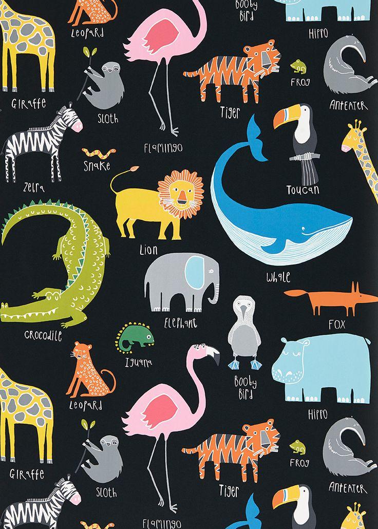 Animal Magic Multi on Black wallpaper by Scion