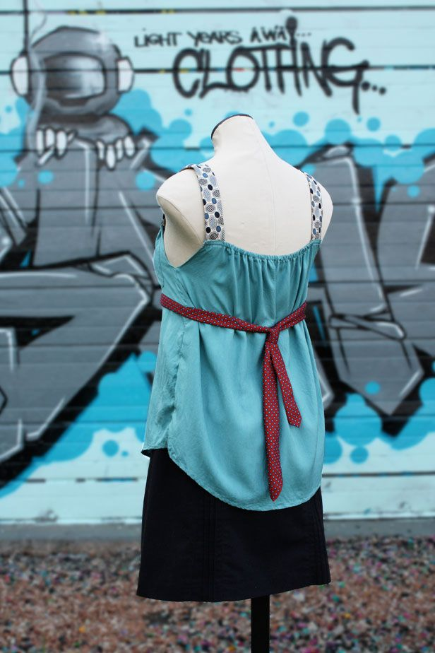 Necktie and button down shirt into tank top conversion - backside. Get down to business with this upcycling project!