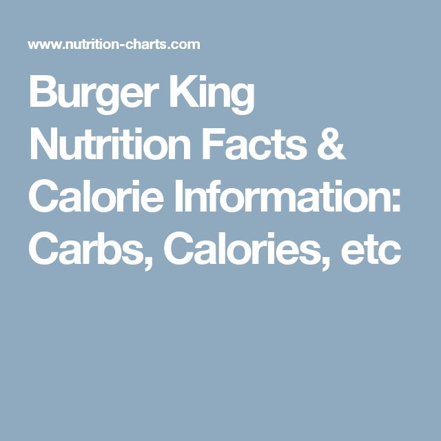 Burger King Nutrition Facts & Calorie Information: Carbs, Calories, etc