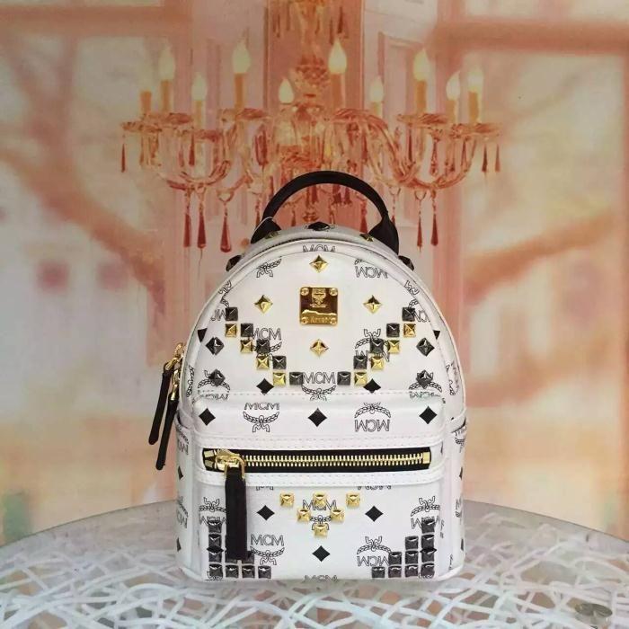 MCM Mini Stark M Studded Backpack In White