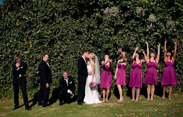 Fuchsia bridesmaids' dresses