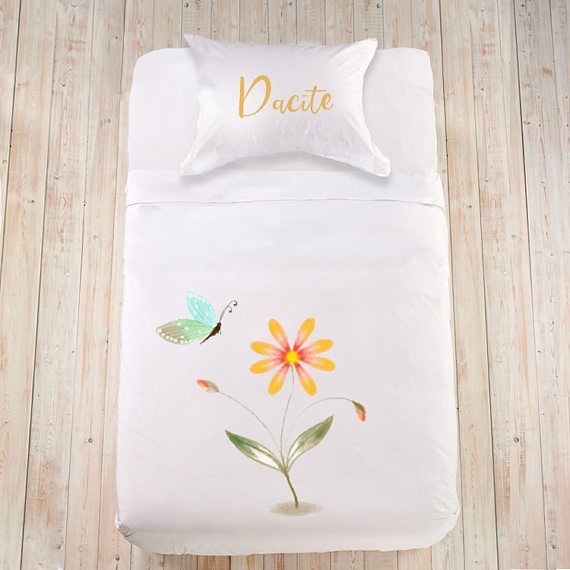 Cute bedding set for Girls duvet cover Watercolor Flower duvet cover Kids bedset King sheet set Watercolor bedding Custom duvet cover set  Lovely, sweet and soft cotton bedding set for a little angel girl! Beautiful touch for the childs bedroom! Bedding sets are made using high