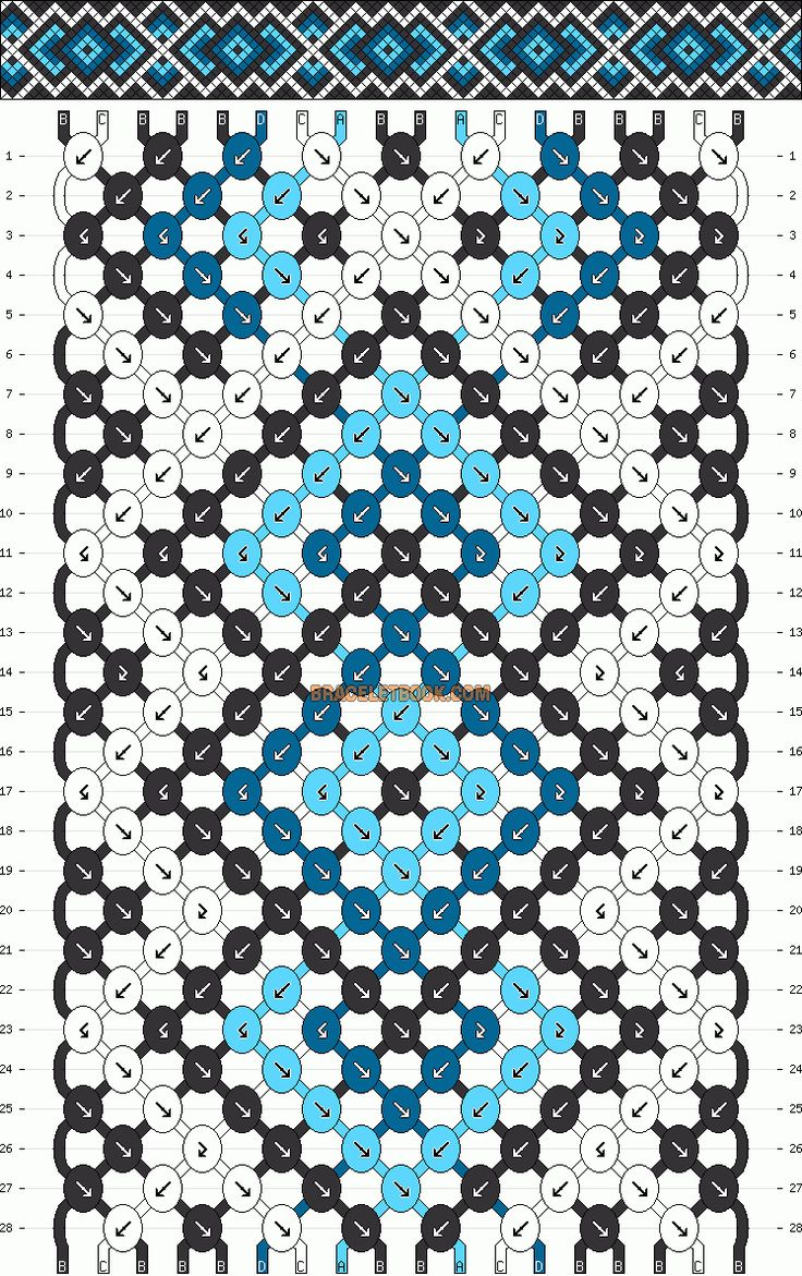 Normal Friendship Bracelet Pattern #11003 - BraceletBook.com