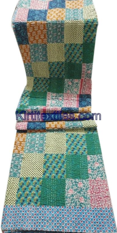 Indian Traditional Designer Old Cotton Saree Patchworked Kantha Gudri Bedsperad Cum Throw From Jaipur India