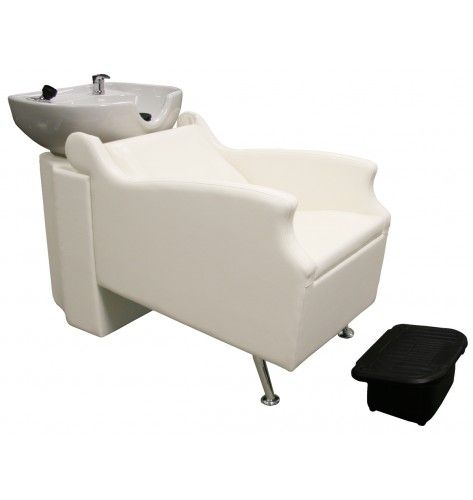 Avant Backwash Shampoo System With Gray Chair And White Porcelain Bowl.