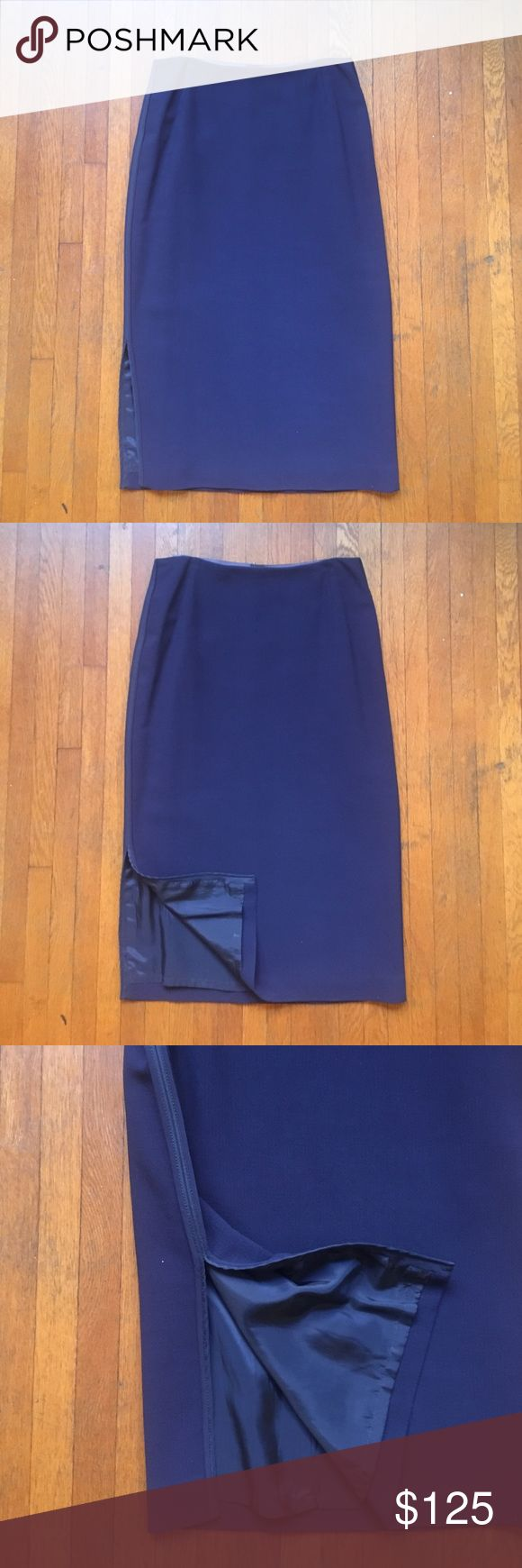 Lafayette 148 navy blue pencil skirt Lafayette 148 navy blue pencil skirt with side slit. Has a relaxed fit and is medium length, hitting around the knee or below depending on height. Excellent condition! Lafayette 148 New York Skirts Pencil