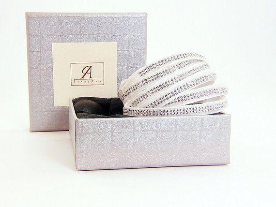 White Swarovski multi strand bracelet, bridal multistrand wrap bracelets