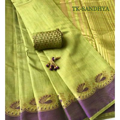 Sandhya, Premium, Tussar, Silk, Saree, Zari, Peacock, border, Chit Pallu, Runninig, Blouse, Trendzkafe, Wholesale.