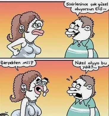 Karikaturiks   Gülümse biraz.!: Sinirlenince Daha İyi :)) #karikatür
