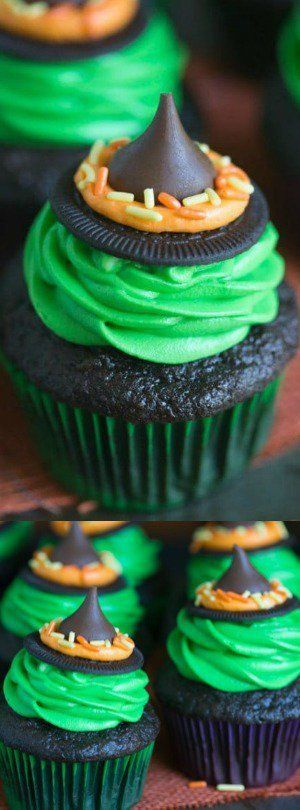 These Witch Hat Cupcakes from Tastes Better From Scratch take just 5 ingredients to make! Your kids will love helping you make these fun and easy Halloween cupcakes!