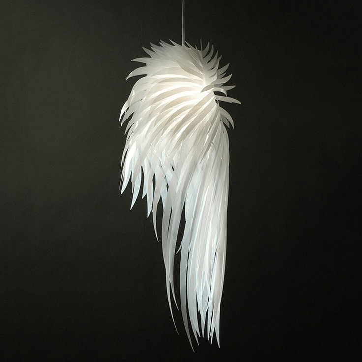 #Icarus #Light - Named for the mythological Greek figure that tried to escape Crete by way of makeshift wings, the fixture is made of feather-shaped ribbons of extruded polyester. When illuminated, the lightweight piece creates an artful display of light.
