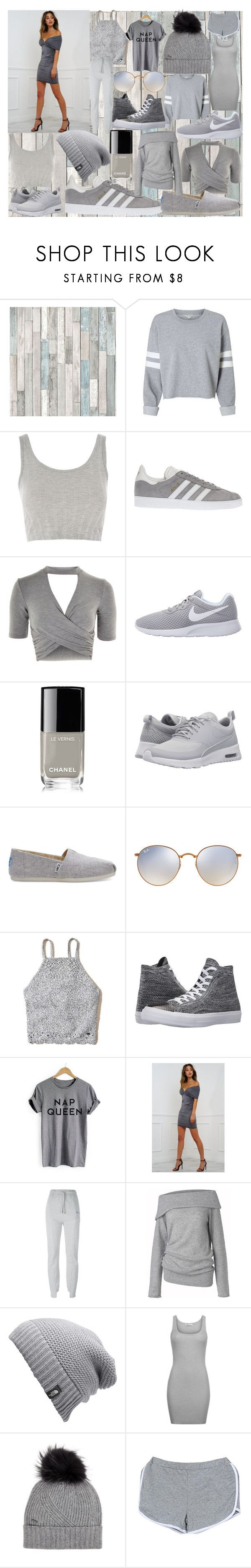 """""""GREY"""" by andieok on Polyvore featuring Topshop, adidas, NIKE, Chanel, TOMS, Ray-Ban, Hollister Co., Converse, Vetements and Care By Me"""