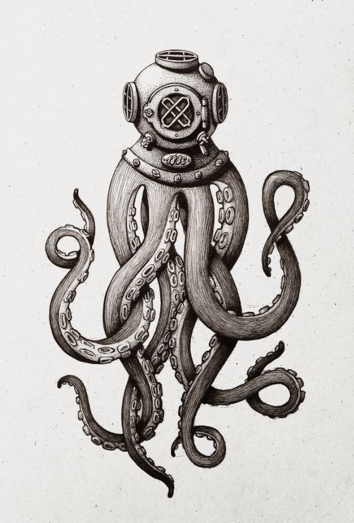 An ink drawing of a diver squid I did. With a 0.03 multiliner pen on A5 paper. That was rather satisfying - old diver helmets and tentacles always attracted me!