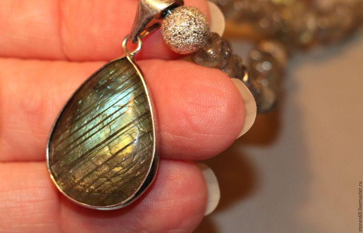 Купить Колье тигровый глаз натуральный - авантюрин коричневый. - голубой, необычный подарок, необычное украшение