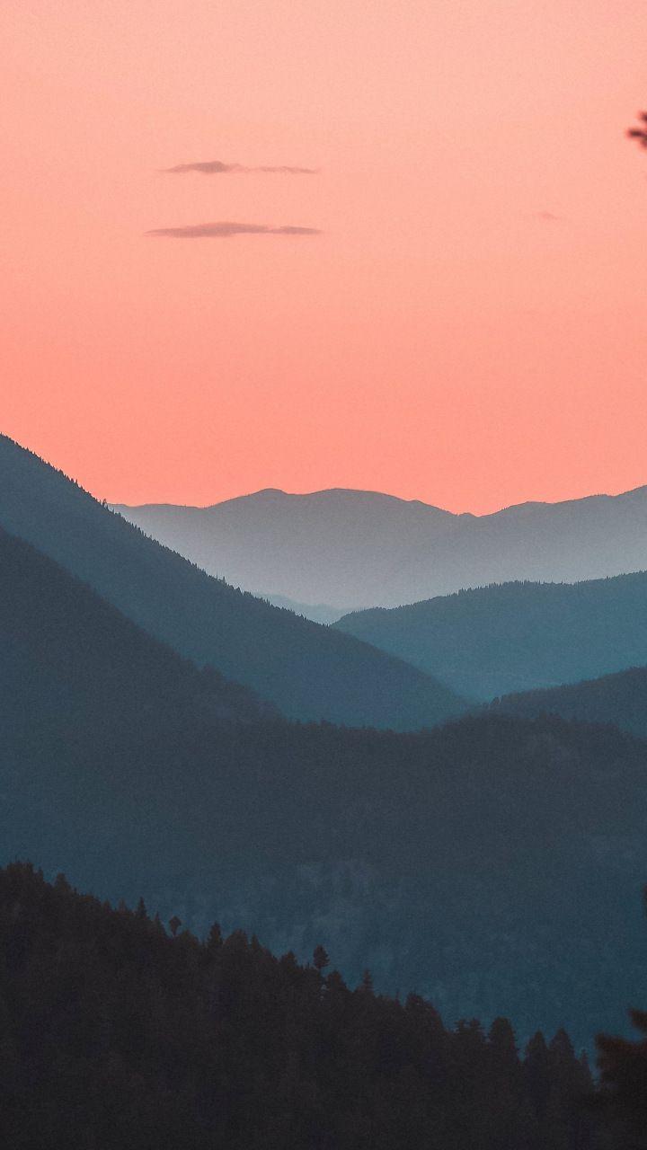 Mountains, horizon, forest, sunset, dusk, 12x12 wallpaper ...