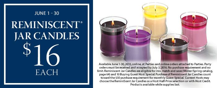 Reminiscent® Jar Candles $16 each or 3 for $50
