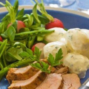 Bbq–grillad fläskfilé med potatissallad