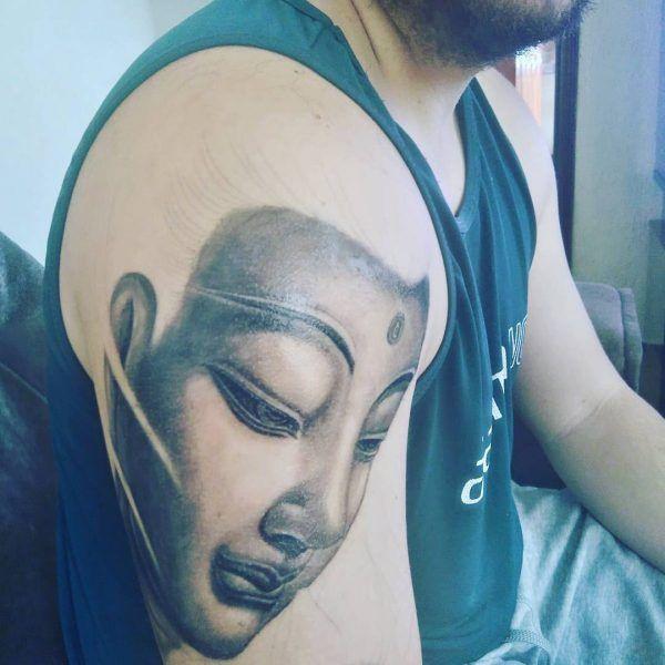 Religious, half sleeve tattoo on TattooChief.com
